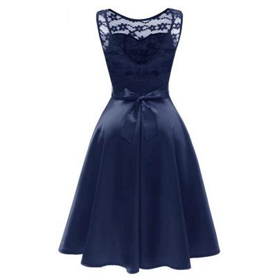 A  Chicloth Sleeveless Burgundy Knee-Length Women's Lace Dress_3