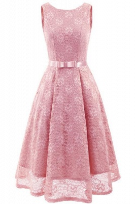 A| Chicloth Pink Sleeveless Round Neck Lace Dress_1