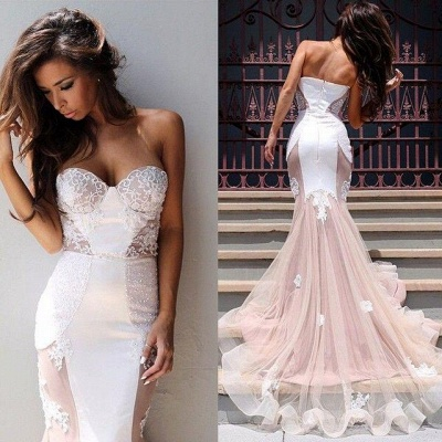 Chicloth Sexy Mermaid Sweetheart Tulle Long Evening Dress Lace Custom Made 2019 Evening Party Dresses_5
