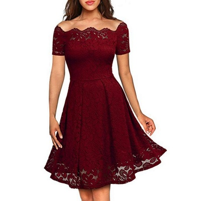 A| Chicloth 2018 Solid Lace Peasant Off the Shoulder A-line Dress_2