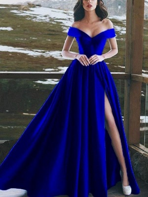 Chicloth A-Line Sleeveless Off-The-Shoulder Floor-Length With Ruffles Satin Dresses_1