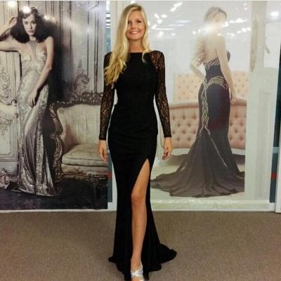 Chicloth Black Bateau Spandex Evening Dresses Backless Long Sleeves 2019 Prom Dresses_4