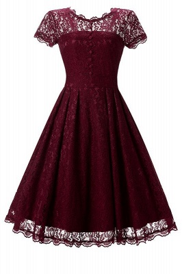 A| Chicloth Women Floral Lace Short Sleeve Vintage Lady Party Swing Bridesmaid Dress_1