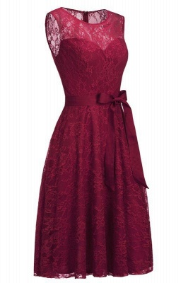 Chicloth A-line Sleeveless Burgundy Lace Dresses with Bow_2