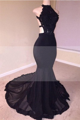 Chicloth Sexy Black Open Back Lace Prom Dresses | 2019 Sleeveless See Through Tulle Cheap Evening Gown_1