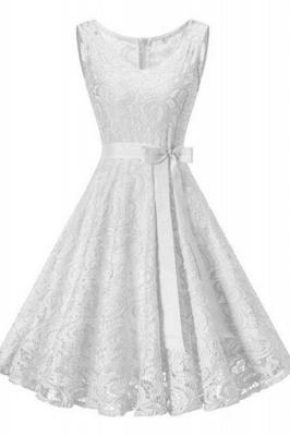 Vintage White Floral Lace Tunic Women Sleeveless Short Dress_10