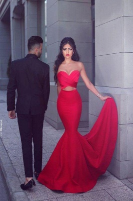 Chicloth New Arrival Sexy Mermaid Sweetheart Sleeveless Red Long Evening Dresses_1