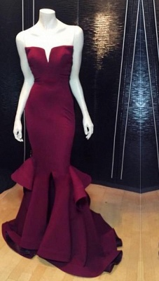 Chicloth Popular Burgundy Mermaid Long Evening Dress Sexy Simple Cheap Notched Slit Prom Gown CJ0397_2