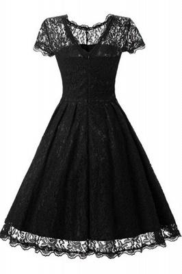 Lace Black Button Chic Elegant Vintage Dresses_1