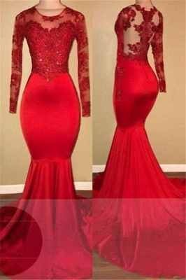 A| Chicloth Long Sleeve Mermaid Lace Prom Dresses 2019 | Red Sheer Tulle Cheap Evening Gown FB0283_1