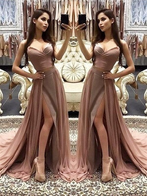 Chicloth A-Line Sweetheart Sleeveless Sweep/Brush Train With Layers Chiffon Dresses_2