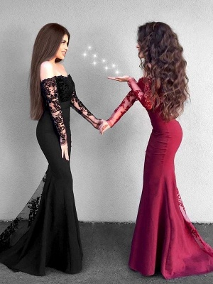Chicloth Mermaid Long Sleeves Off-The-Shoulder Sweep/Brush Train With Applique Satin Dresses_2