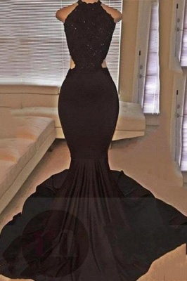 Chicloth Backless Mermaid Lace Sleeveless Black Long Prom Dresses ly149_1