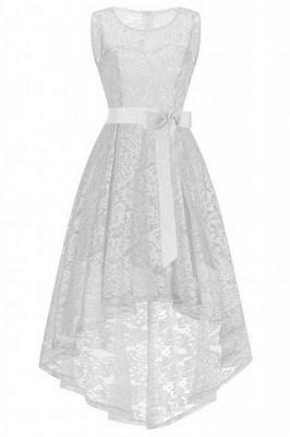 Women White Lace Elegance Wedding Bridesmaid Girl Dresses_5