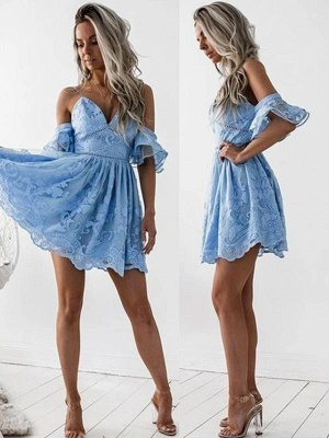 Chicloth A-Line Lace Spaghetti Straps Sleeveless Short/Mini Dresses_1