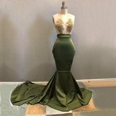Chicloth Halter Lace Appliques 2019 Prom Dress | Mermaid Evening Gowns RM0_2