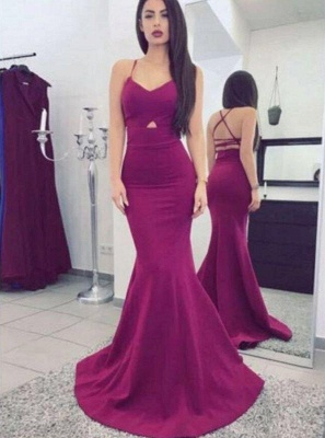 Chicloth Sexy Mermaid Prom Dresses Criss Cross Straps Long Evening Dresses Sweep Train_2