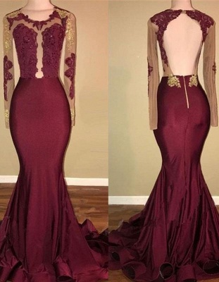 Chicloth Amazing Burgundy Gold Prom Dresses | Sexy Open Back Mermaid Evening Gowns_2
