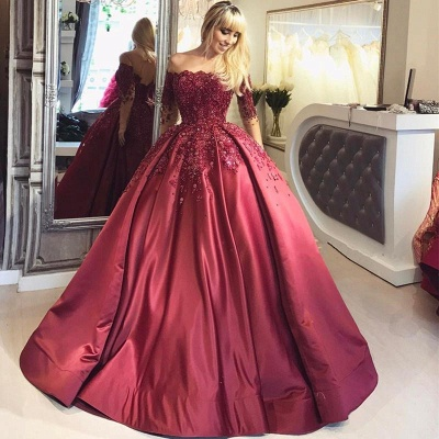 Chicloth Burgundy Off-the-Shoulder Long-Sleeves Crystal Appliques Ball Prom Dresses_4