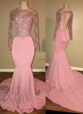 Chicloth Pink Long-Sleeves Backless Beaded Mermaid Shiny Prom Dresses_2