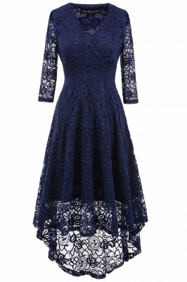 A| Chicloth Women 1950s Vintage Deep V Neck High-low Hem Lace Cocktail Party Dress_1