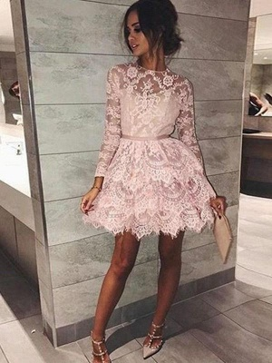 Chicloth A-Line Bateau Long Sleeves With Beading Lace Short/Mini Dresses_1