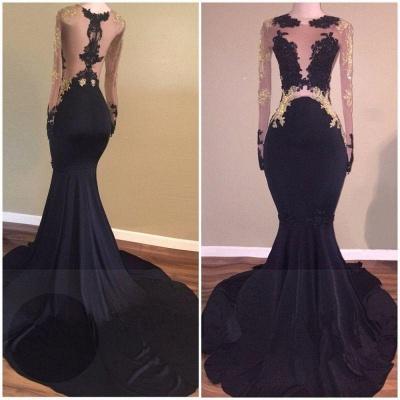 Chicloth Sexy Black Long-Sleeve Lace Mermaid Zipper Prom Dress_3