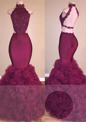 A| Chicloth Glamorous Mermaid Lace Backless Burgundy Prom Dress_2