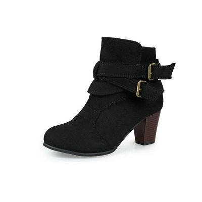 Suede Buckle Chunky Heel Daily Elegant Round Boots_4