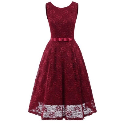 A| Chicloth Pink Sleeveless Round Neck Lace Dress_3