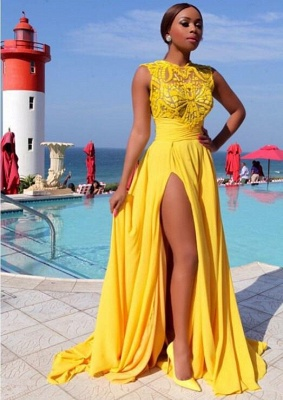 Chicloth Yellow Chiffon Side-Slit High-Neck Sleeveless Sexy Long Evening Dresses_2