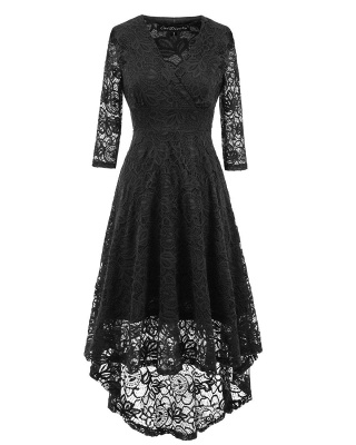 A| Chicloth Women 1950s Vintage Deep V Neck High-low Hem Lace Cocktail Party Dress_4