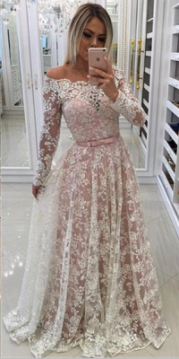 Chicloth A-line Off-shoulder Long Sleeves Floor-length Appliques Sash Prom Dresses_2