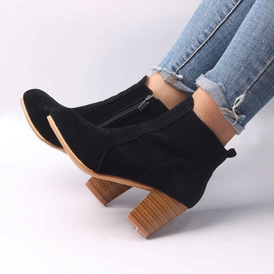 Suede Chunky Heel Zipper Daily Round Boots_2