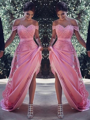Chicloth Sheath Off-The-Shoulder Sleeveless Sweep/Brush Train With Lace Silk Like Satin Dresses_1