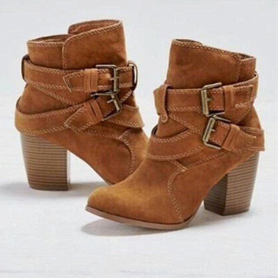 Chunky Heel Daily Buckle Suede Boots_3