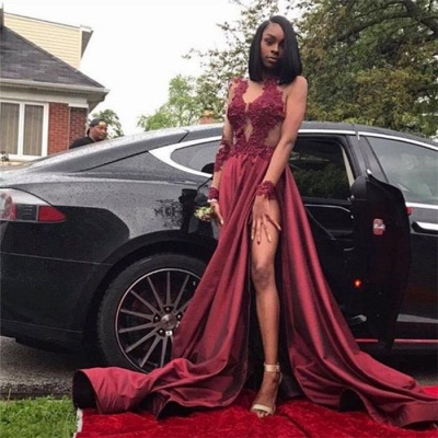 Chicloth Burgundy A-Line Long Sleeves Prom Dresses 2019 Appliques Side Slit Evening Dresses SK0107_2