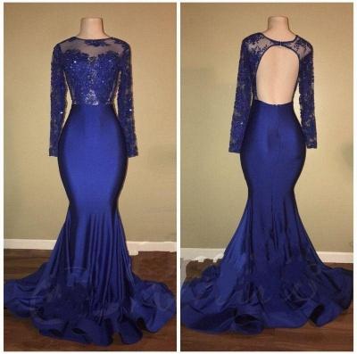 Chicloth Royal-Blue Mermaid Long-Sleeves Beaded Ruffles-Skirt Prom Dresses_2