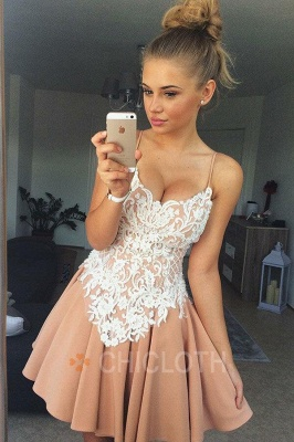 A-Line Spaghetti Straps Champagne Short Homecoming Dress with Lace_1
