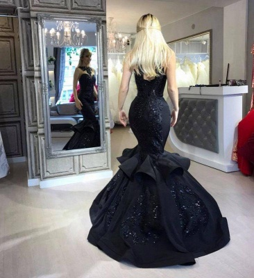 A| Chicloth Black Mermaid Beads Prom Dresses | Appliques 2019 Sexy Evening Dresses Cheap FB0267_2