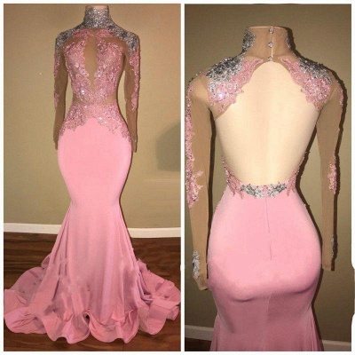 A| Chicloth Elegant Pink Mermaid Prom Dresses | High Neck Lace Appliques Beaded Evening Gowns_3