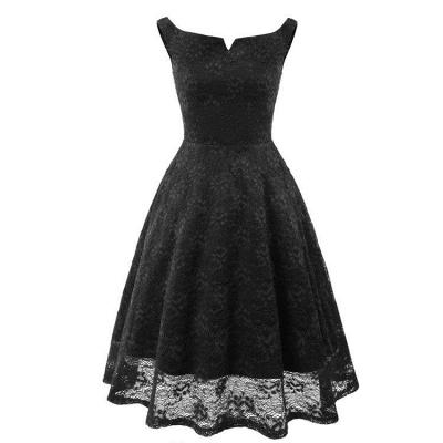 A| Chicloth Pink Sleeveless A-Line Lace Dress_3