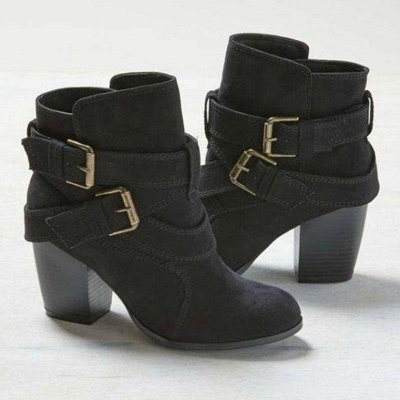 Chunky Heel Daily Buckle Suede Boots_2