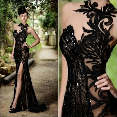 Chicloth Sexy Black Prom Dress| 2019 Mermaid Evening Dress With Slit_2