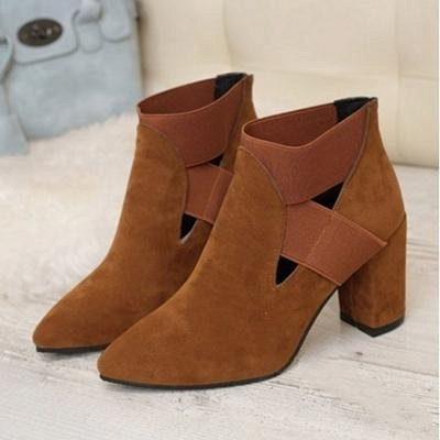 B| Chicloth Autumn Women Pointed Flock Boots_1