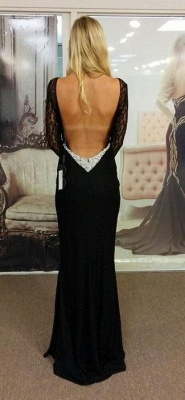 Chicloth Black Bateau Spandex Evening Dresses Backless Long Sleeves 2019 Prom Dresses_2