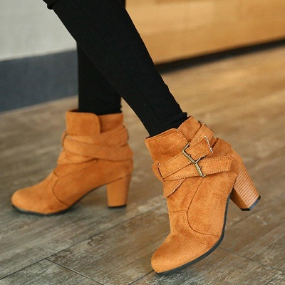 Suede Buckle Chunky Heel Daily Elegant Round Boots_2