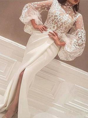 Chicloth Mermaid Long Sleeves High Neck Sweep/Brush Train Lace Satin Dresses_1