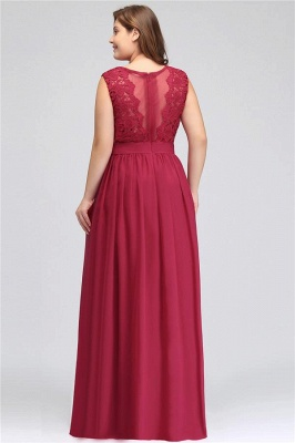 A| Chicloth Crew Neck Lace Bridesmaid Dress Plus Size Prom Evening Dress Formal_5