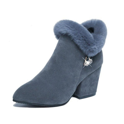 Suede Daily Zipper Chunky Heel Fur Pointed Boots_5